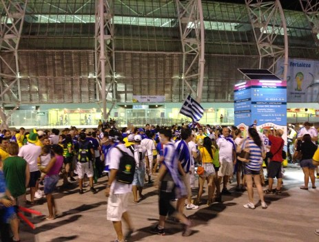 Outside the stadium after the game at the Greece vs Côte d'Ivoire game in the 2014 World Cup at Arena Castelão in Fortaleza, Brazil