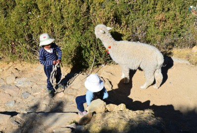 Children with an alpaca on Isla del Sol, Lake Titicaca, Bolivia