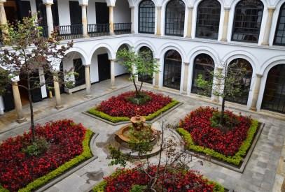 Courtyard of Museo de Botero in La Candelaria, Bogotá, Colombia