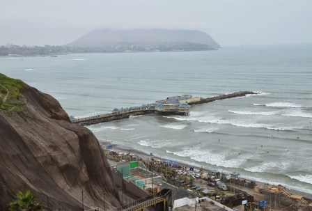 View of the Pacific Ocean in Miraflores, Lima, Peru