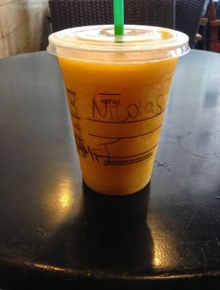 Mango y maracuyá frappuccino at Starbucks in Lima, Peru