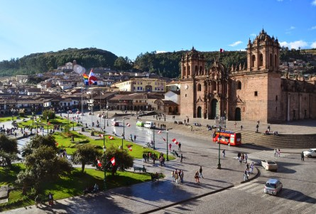 View of Plaza de Armas from Iglesia de la Compañia on Plaza de Armas in Cusco, Peru