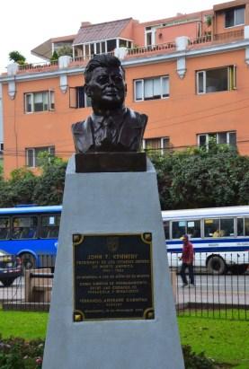 Bust of JFK at Parque Kennedy in Miraflores, Lima, Peru