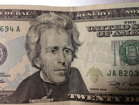 Look just above Mr. Jackson's head to the right - my bad $20 at Desaguadero border crossing in Bolivia