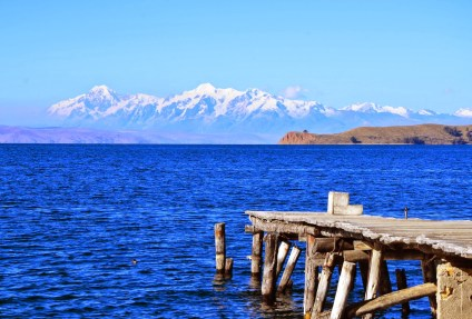 View of Lake Titicaca from on Isla del Sol, Lake Titicaca, Bolivia
