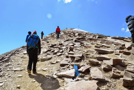 Walking up Chacaltaya, Bolivia