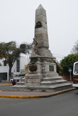 Obelisk on Avenida Sáenz Peña in Barranco, Lima, Peru