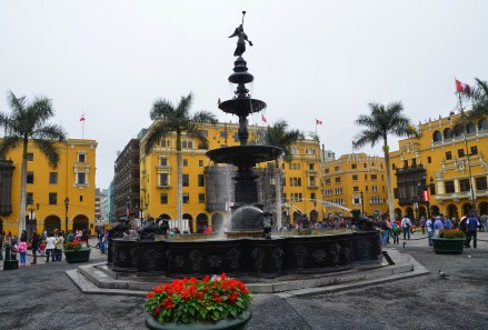 Fountain at Plaza Mayor in Lima, Peru