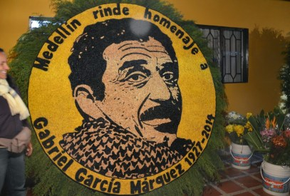 A float honoring Gabriel García Márquez at the Tour de los Silleteros in the Feria de las Flores, Medellín, Antioquia, Colombia