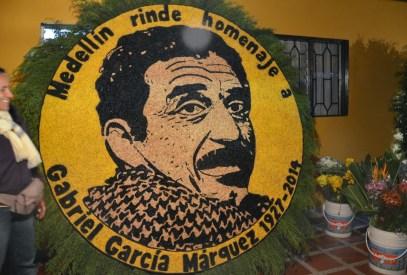 A float honoring Gabriel García Márquez at the Tour de los Silleteros in the Feria de las Flores, Medellín, Antioquia, Colombia