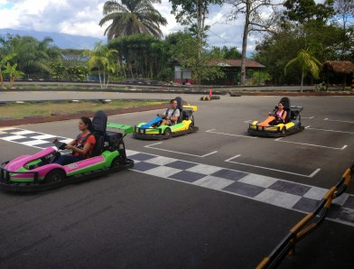 Go kart racing at Parque Nacional del Café in Quindío, Colombia