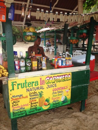 Juice stand at Playa Cristal at Tayrona National Park in Colombia