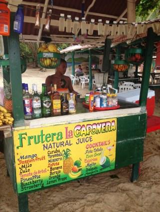Juice stand at Playa Cristal at Tayrona National Park in Colombia