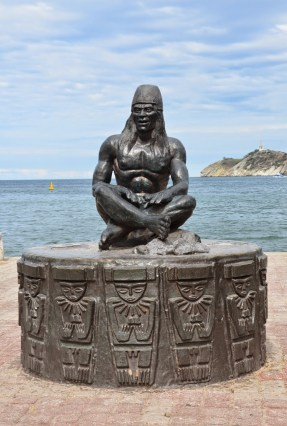Tairona statue on the Malecón in Santa Marta, Magdalena, Colombia
