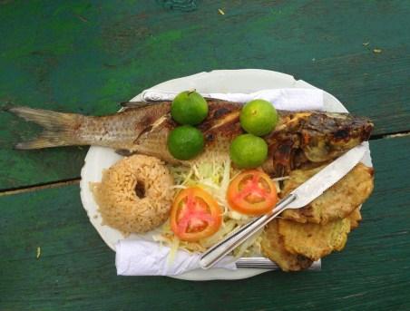 Fish lunch at Playa Cristal at Tayrona National Park in Colombia