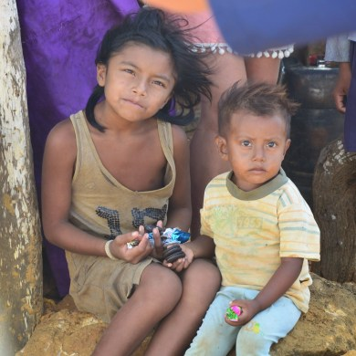 Wayúu children at Punta Gallinas, La Guajira, Colombia