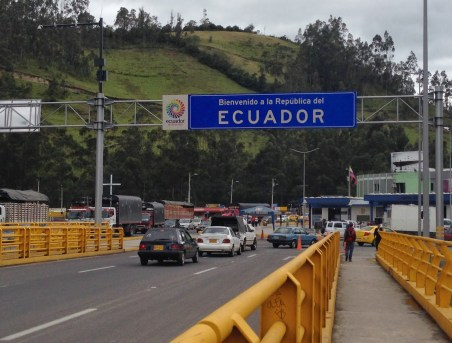 Welcome to Ecuador! at the Rumichaca border crossing with Colombia