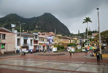 Cerro Ingrumá and Plaza de La Candelaria in Riosucio, Caldas, Columbia