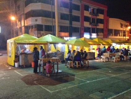 Night at Plaza de los Ponchos in Otavalo, Ecuador