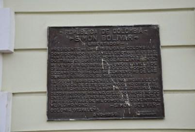 Bolívar decree at the town hall in Otavalo, Ecuador
