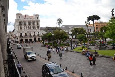 Hotel Plaza Grande (left) on Plaza Grande in Quito, Ecuador