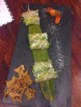 Salmon spring rolls at Manolo Caracol in Casco Viejo, Panama City
