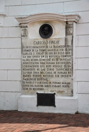 Monument to Carlos Finlay at Plaza de Francia in Casco Viejo, Panama City