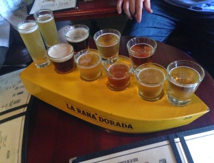 Beer sampler at La Rana Dorada in Casco Viejo, Panama City