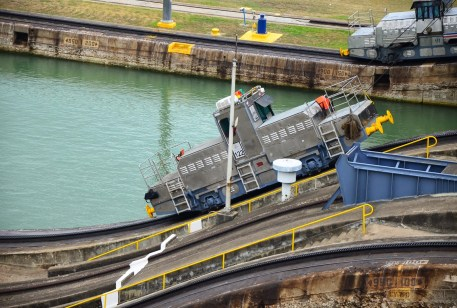 Mule at the Miraflores Locks on the Panama Canal