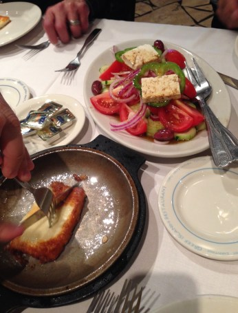 Greek Village Salad and Saganaki at Greek Islands Restaurant in Greektown Chicago