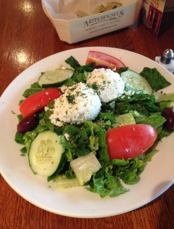 Mediterranean Salad at Artopolis Bakery and Café in Greektown Chicago