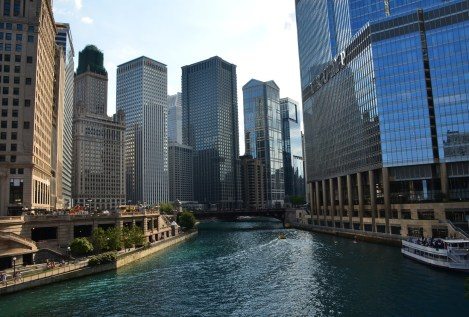 View from the Michigan Avenue Bridge in Chicago
