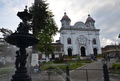 Plaza and church in Aguadas, Caldas, Colombia