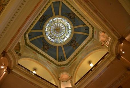 Looking up at the dome at the Wyoming State Capitol in Cheyenne