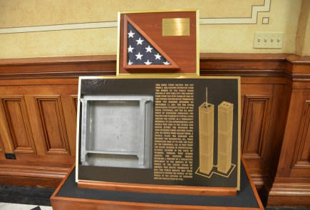 A piece of the World Trade Center at the Wyoming State Capitol in Cheyenne