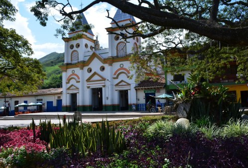 Hispania Antioquia Colombia church and plaza