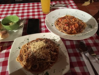 Pasta at Pepe Nero Restaurant in San Agustín Huila Colombia