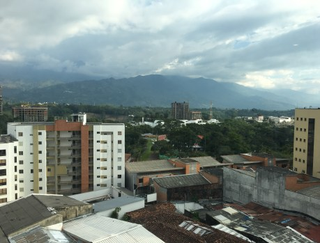 The view from our room at Allure Aroma Mocawa Hotel in Armenia, Quindío, Colombia
