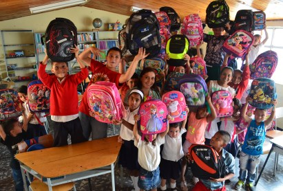 Handing out the packages to the students in Belén de Umbría, Risaralda, Colombia