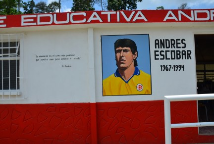 Andrés Escobar portrait and Nelson Mandela quote at Andrés Escobar School in Belén de Umbría, Risaralda, Colombia