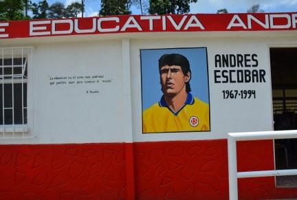 Andrés Escobar portrait and Nelson Mandela quote at Andrés Escobar School in Belén de Umbría, Risaralda, Colombia