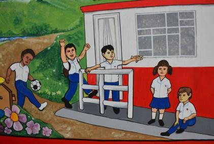 Mural at Andrés Escobar School in Belén de Umbría, Risaralda, Colombia