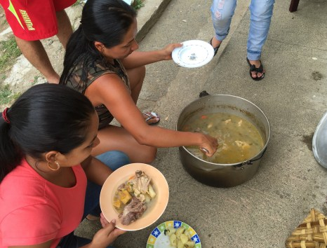 Serving the sancocho in Anserma, Caldas, Colombia