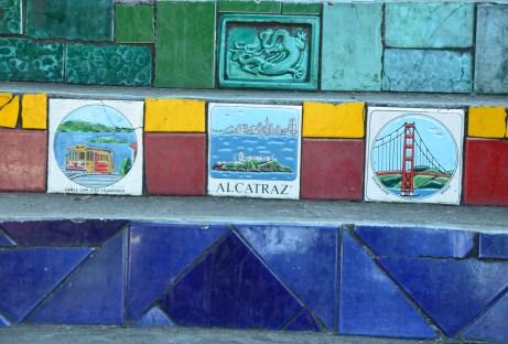 San Francisco tiles at Escadaria Selarón in Rio de Janeiro, Brazil