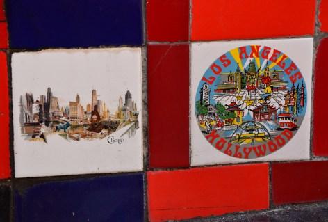 Chicago and Los Angeles tiles at Escadaria Selarón in Rio de Janeiro, Brazil