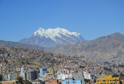 View of Illimani from Hotel Presidente in La Paz, Bolivia