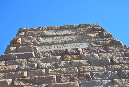 Inscription on the Ames Monument near the former site of Sherman, Wyoming
