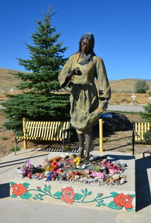 Sacajawea monument at Sacajawea Cemetery in Fort Washakie, Wyoming