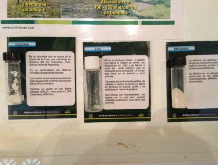 Illegal drugs at Museo Histórico de la Policía Nacional in La Candelaria, Bogotá, Colombia