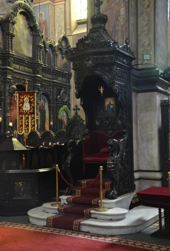 Bishop's throne at Uspenie Bogorodichno in Varna, Bulgaria